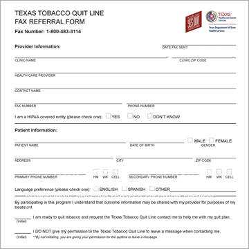 Texas Tobacco Quit Line fax refferal form